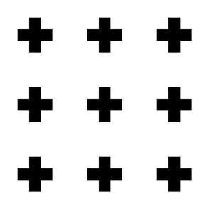 cross + black on white 3in narrow