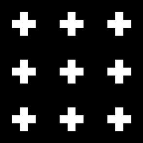 cross + white on black 3in narrow