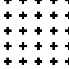 cross + black on white 2in narrow