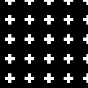 cross + white on black 2in narrow