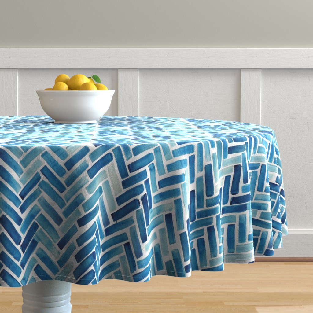 Malay Round Tablecloth featuring Blue herringbone watercolor by mrshervi