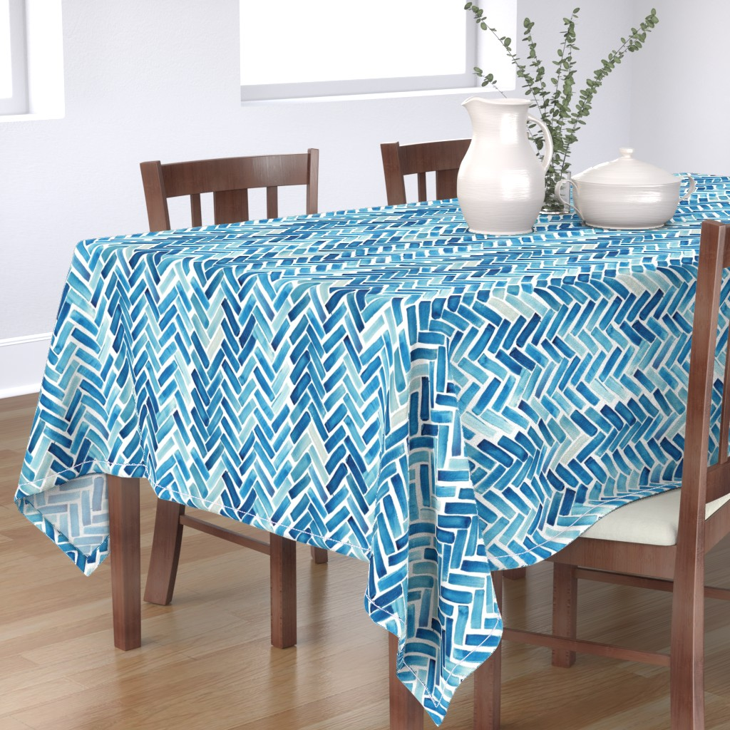 Bantam Rectangular Tablecloth featuring Blue herringbone watercolor by mrshervi