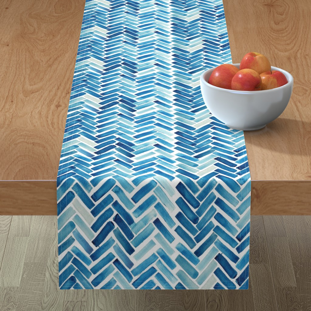 Minorca Table Runner featuring Blue herringbone watercolor by mrshervi