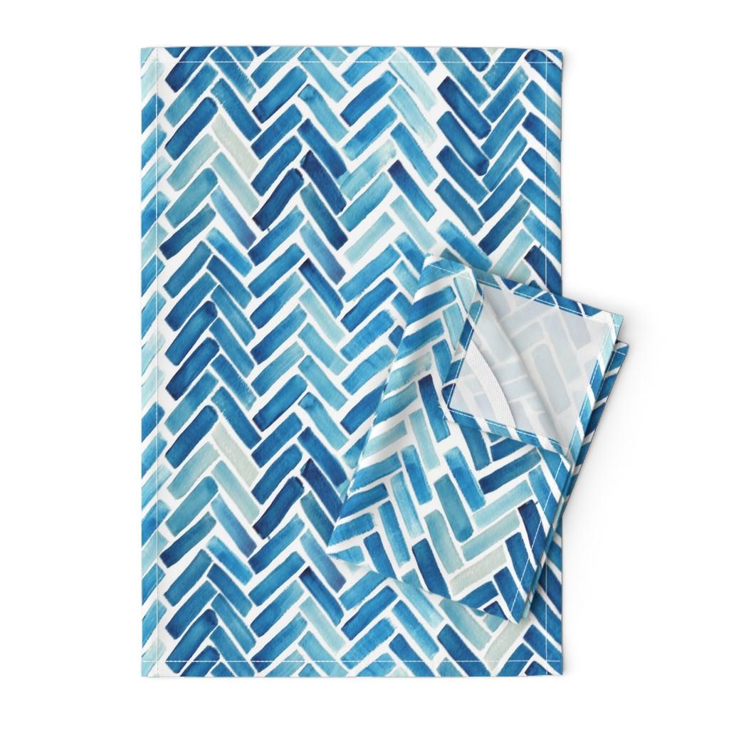 Orpington Tea Towels featuring Blue herringbone watercolor by mrshervi