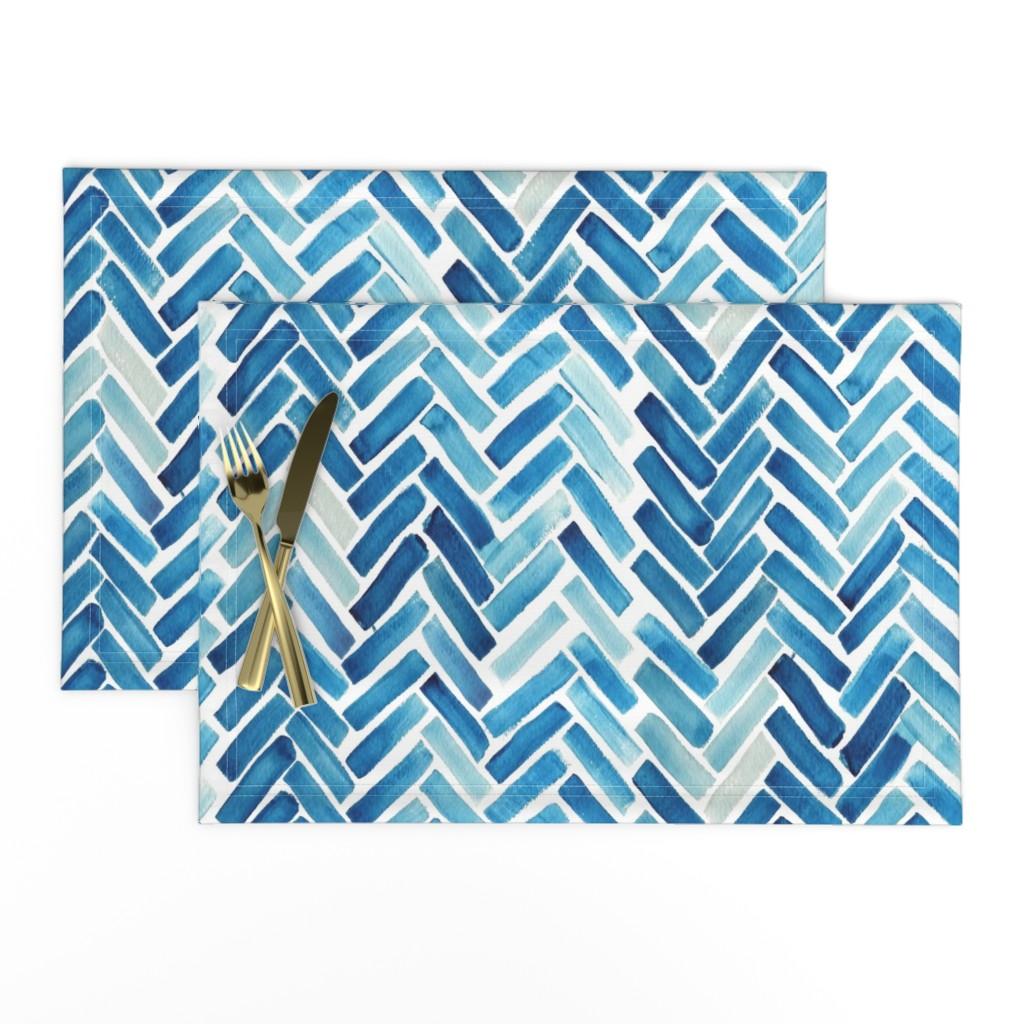 Lamona Cloth Placemats featuring Blue herringbone watercolor by mrshervi