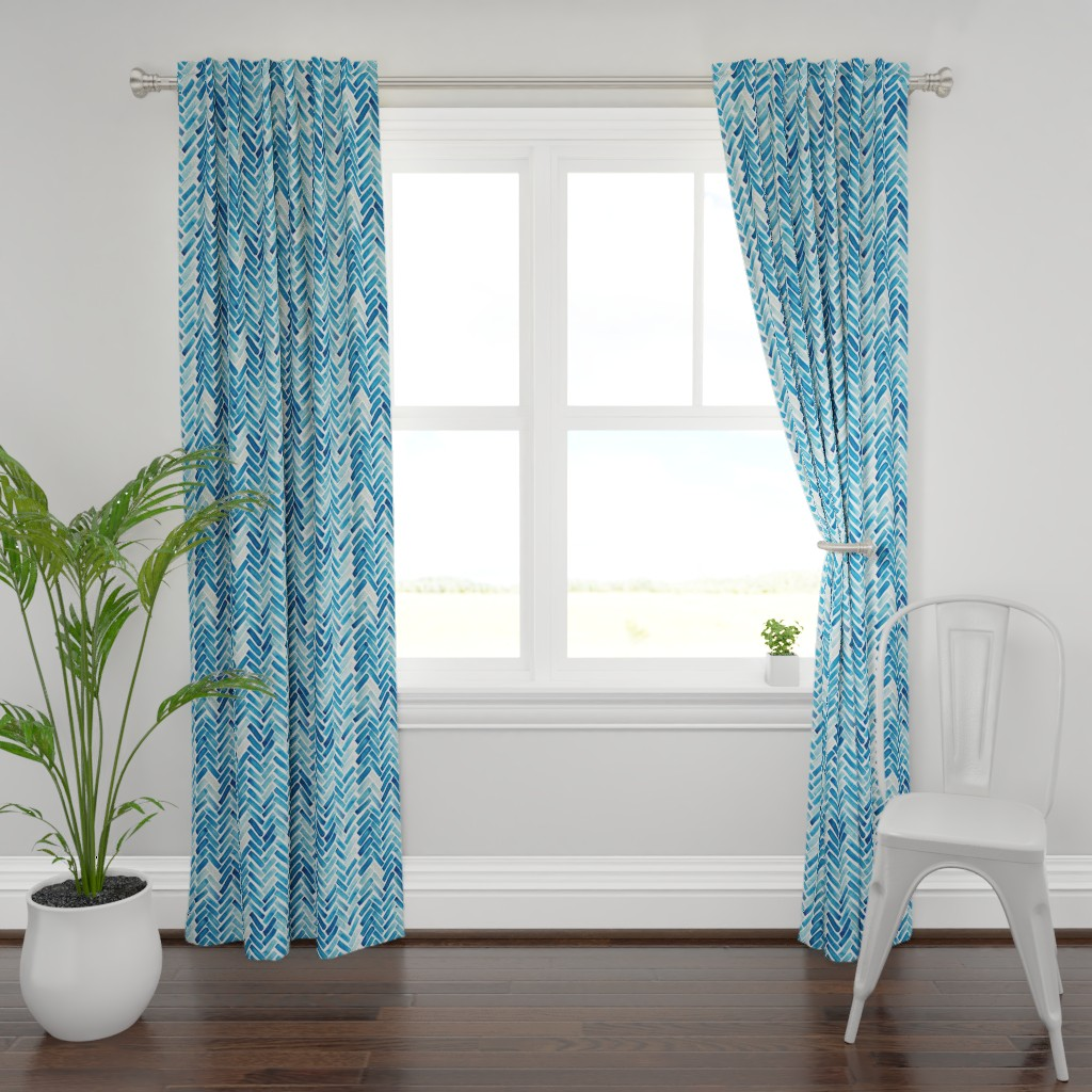 Plymouth Curtain Panel featuring Blue herringbone watercolor by mrshervi
