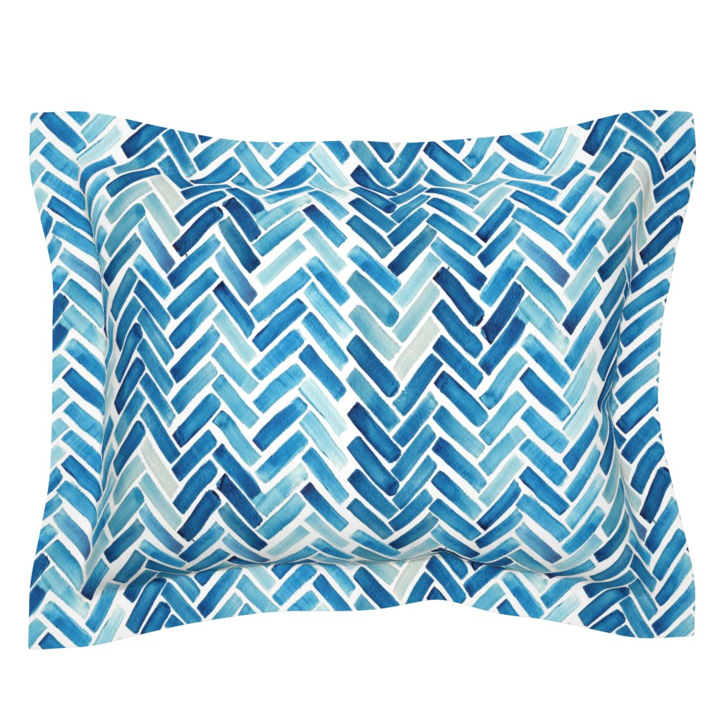 Sebright Pillow Sham featuring Blue herringbone watercolor by mrshervi