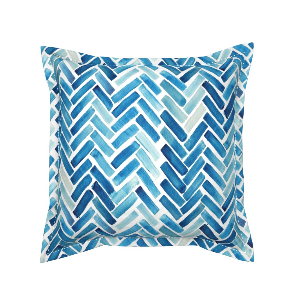 Serama Throw Pillow featuring Blue herringbone watercolor by mrshervi