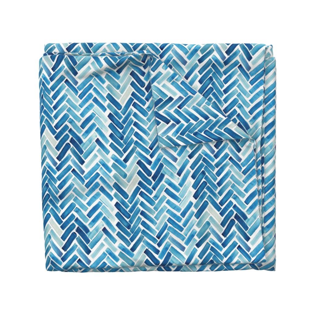 Wyandotte Duvet Cover featuring Blue herringbone watercolor by mrshervi