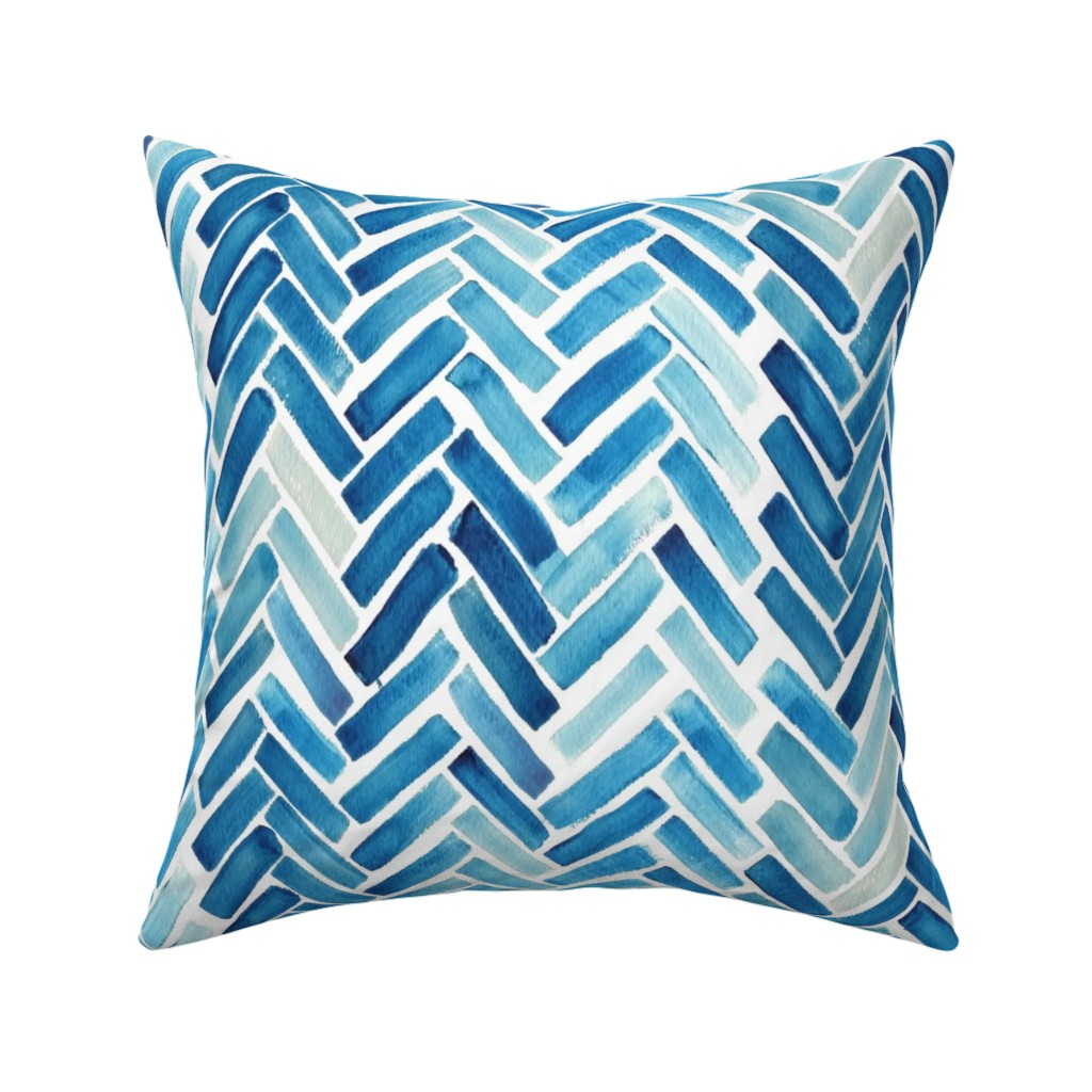 Catalan Throw Pillow featuring Blue herringbone watercolor by mrshervi