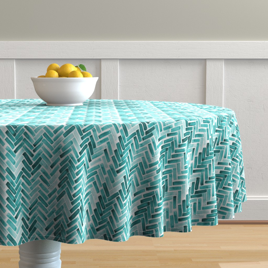 Malay Round Tablecloth featuring Mint  watercolor herringbone by mrshervi