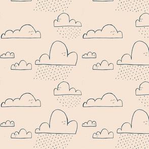 clouds cute faces in oatmeal