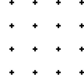 cross + black on white 1in wide