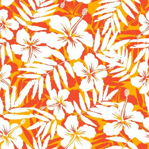 Orange tropic flowers