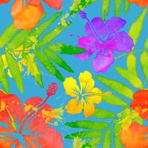 Bright colors tropic flowers