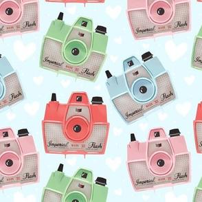 Vintage Cameras - Blue - Large