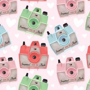 Vintage Cameras - Pink - Large
