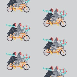 Key West Chickens on a Bike in grey
