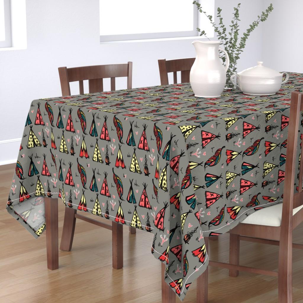 Bantam Rectangular Tablecloth featuring Tee Pee Paradise by katrina_ward