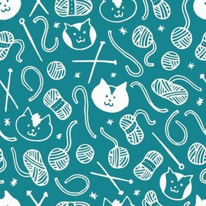 Cats & Yarn in Teal