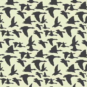 birds in flight blue and sage