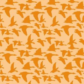 birds in flight peach and orange