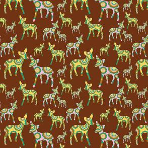 retro woodland deer on brown