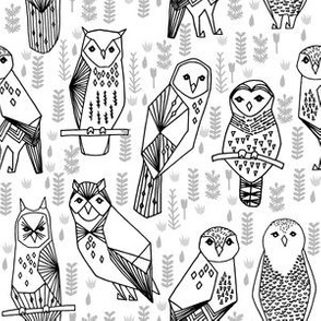 Owls - Black and White small - hand drawn seamless illustration by andrea lauren