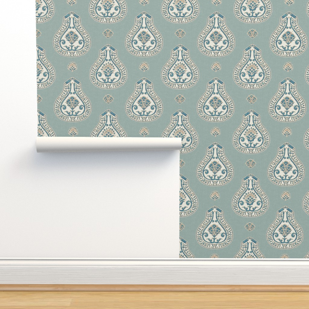 Isobar Durable Wallpaper featuring Contessa Medallion / Mineral by willowlanetextiles