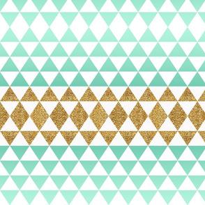 Ombre Glitter Triangles in Mint