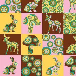 retro woodland cheater quilt