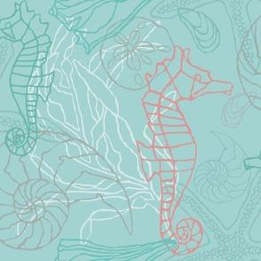 Seahorses & Seashells in Blue/Green Tones