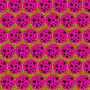 pink and mustard dot