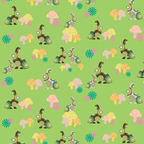 retro woodland bunnies on green