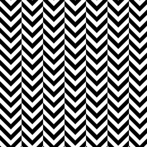 White and Black Chevrons Half-drop