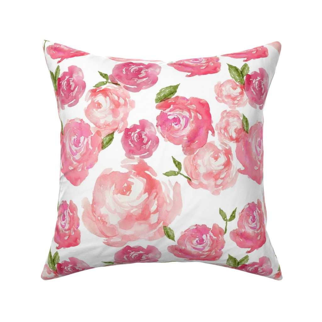Catalan Throw Pillow featuring Watercolor Floral by laurapol