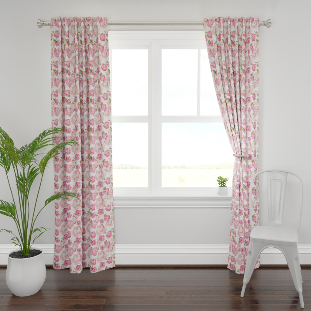 Plymouth Curtain Panel featuring Watercolor Floral by laurapol
