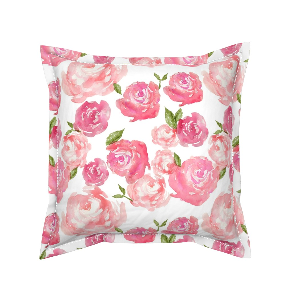 Serama Throw Pillow featuring Watercolor Floral by laurapol