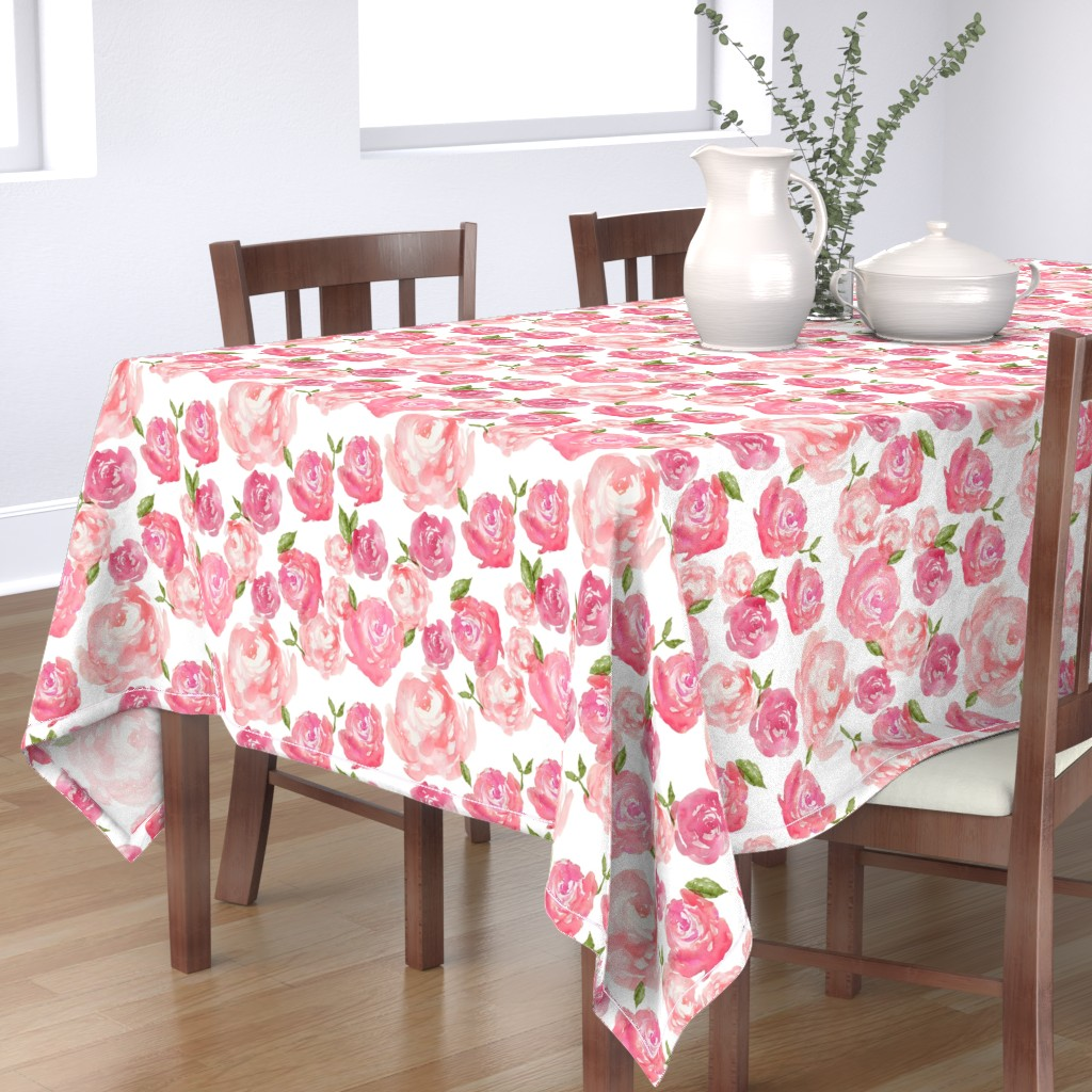 Bantam Rectangular Tablecloth featuring Watercolor Floral by laurapol