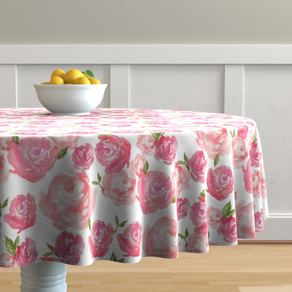 Malay Round Tablecloth featuring Watercolor Floral by laurapol