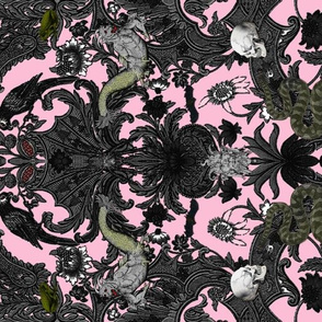 This Is Halloween! Haunted House Damask ~ Pale Pink  ~ Rotated