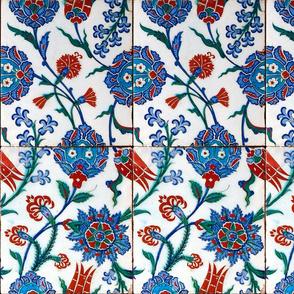 16th Century Turkish Damask Tile ~ Bright Original