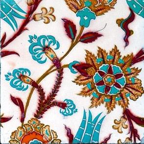 16th Century Turkish Damask Tile ~ Summer Harvest