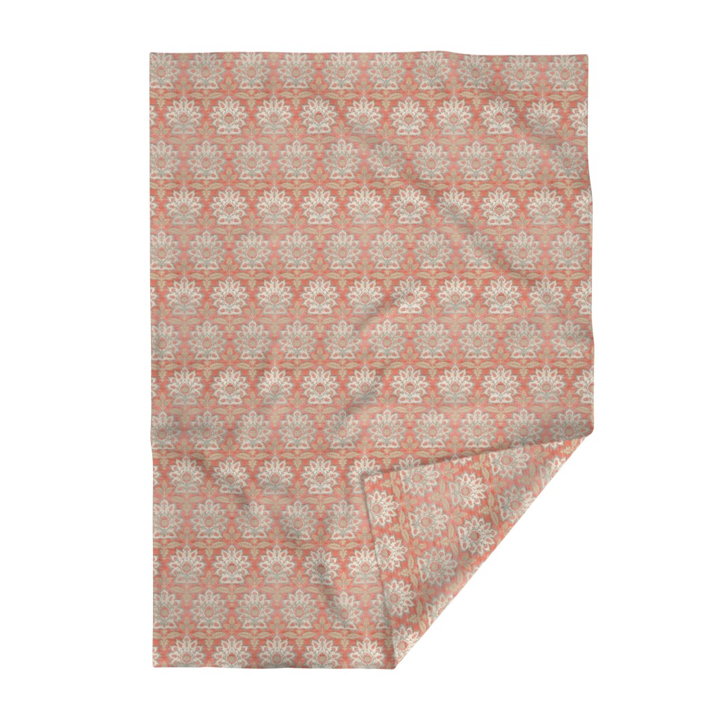 Lakenvelder Throw Blanket featuring Carnations and Tulips Damask Ikat ~ Mint and Coral  by peacoquettedesigns