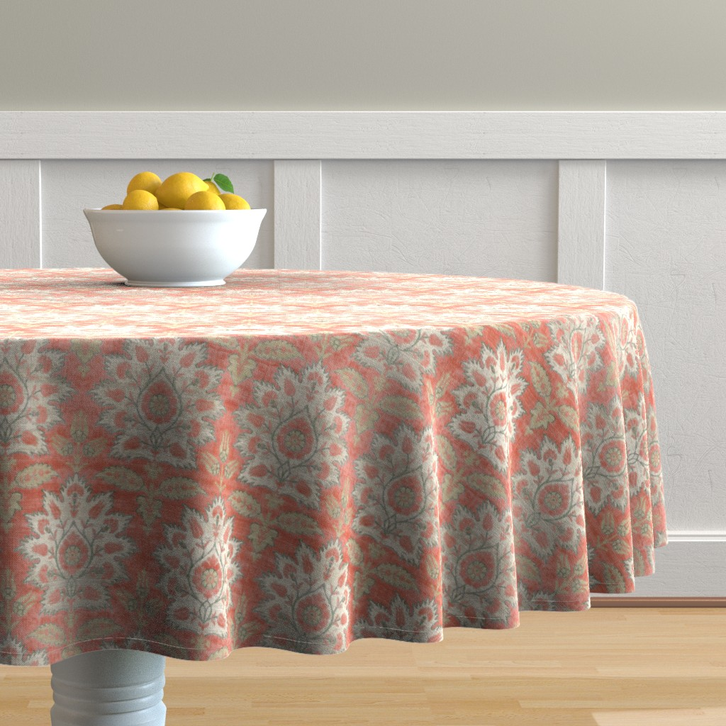 Malay Round Tablecloth featuring Carnations and Tulips Damask Ikat ~ Mint and Coral  by peacoquettedesigns