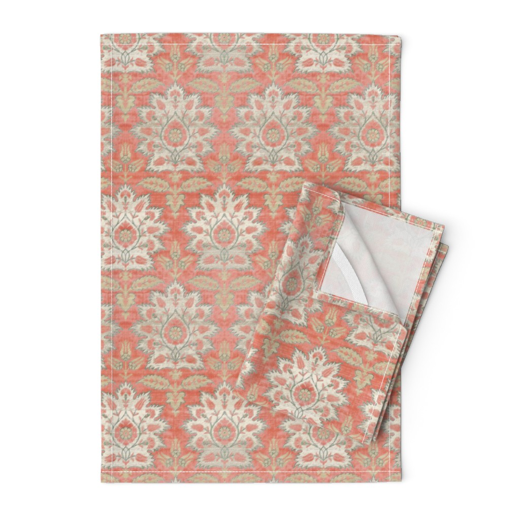 Orpington Tea Towels featuring Carnations and Tulips Damask Ikat ~ Mint and Coral  by peacoquettedesigns