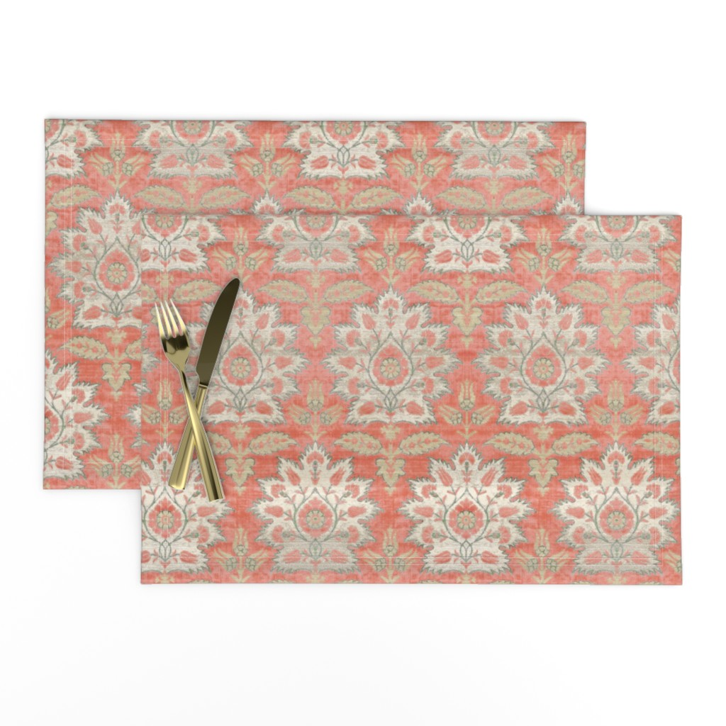 Lamona Cloth Placemats featuring Carnations and Tulips Damask Ikat ~ Mint and Coral  by peacoquettedesigns