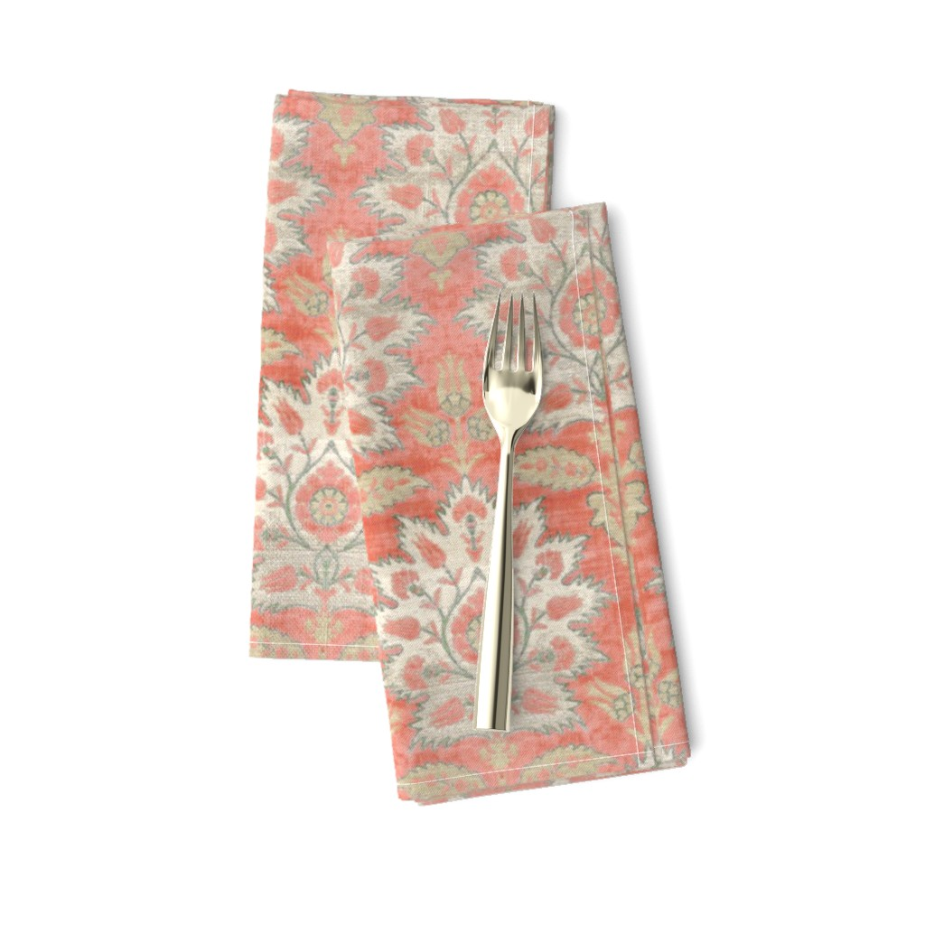 Amarela Dinner Napkins featuring Carnations and Tulips Damask Ikat ~ Mint and Coral  by peacoquettedesigns