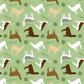 Little Llamas with yarn - green linen