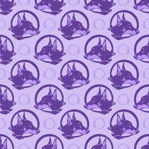 Collared German Pinscher portraits - purple